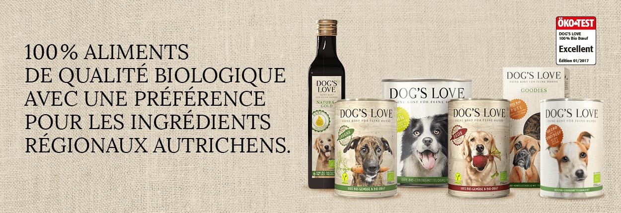 Gamme d'alimentation biologique pour chien Dogs'Love